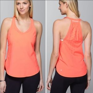 Lululemon In A Flash Neon Orange Tank Top S